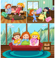 Girls at slumber party in the house vector image vector image