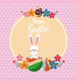 happy easter bunny broken egg floral dots vector image vector image