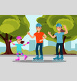 happy family riding roller skate in park outdoor vector image