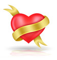 heart shaped and gold ribbon vector image vector image