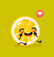 kawaii food cartoon lemon happy funny vector image vector image