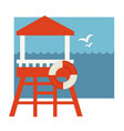 lifeguard post with lifebuoy near sea with vector image vector image