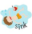 Little boy underwater sinking vector image