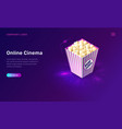 online cinema or movie isometric concept vector image
