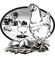 oval frame with hen on nest with eggs vector image