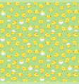 seamless easter pattern with chicks on green back vector image vector image
