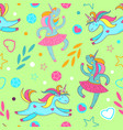 seamless pattern of cute cartoon unicorns stars vector image