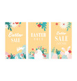 set easter floral backgrounds easter vector image