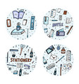 set of doodle stationery office supplies vector image vector image