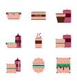 set pixel icons fast food vector image vector image