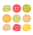 Set round green labels with text gluten free