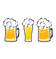 set yellow beer mug with bubbles vector image vector image