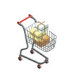 shopping trolley cart isometric 3d icon vector image