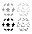 stars in shape of soccer ball icon set grey black vector image vector image