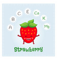 strawberry fruit vitamins and minerals funny vector image