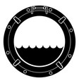 stylized black and white boat window symbol vector image vector image