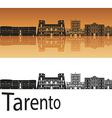 Tarento skyline in orange background vector image vector image