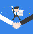 tiny businessman jumping on shake hands holding vector image