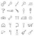 Tool line icons on white background vector image vector image