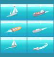 water transport sailing ship variety set vector image