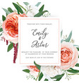 watercolor wedding floral invite greeting card vector image vector image