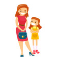 young caucasian white woman holding handbag vector image