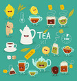 animated tea accessories invite to drink tea vector image vector image