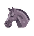 black horse head side view flat icon vector image vector image