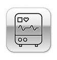 black line computer monitor with cardiogram icon vector image vector image