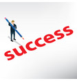 business man write success isometric vector image vector image
