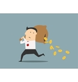 Businessman losing money from a bag vector image vector image