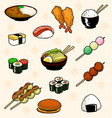 cartoon doodle traditional japanese food dish vector image vector image