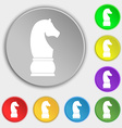 Chess knight icon sign Symbol on eight flat vector image
