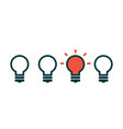 concept of creative idea with light bulb vector image vector image