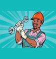 construction worker with wrench vector image