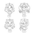 cute baunicorns coloring page for girls vector image