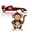 cute chimpanzee formula driver sport little monkey vector image vector image