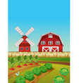 Farm scene with vegetable garden and barn vector image vector image