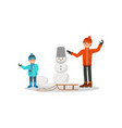 father playing with son in snowballs winter vector image