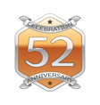 Fifty two years anniversary celebration silver vector image vector image