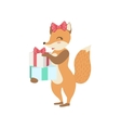 Fox Cute Animal Character Attending Birthday Party vector image