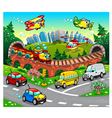 Funny vehicles in the city vector image vector image