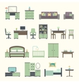 furniture interior flat icons vector image vector image