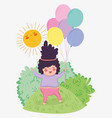 girl play with balloons and sun in the bushes vector image vector image