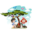 Girls standing under the tree vector image vector image