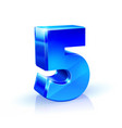 glossy blue five 5 number 3d on vector image vector image