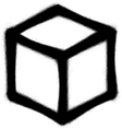 graffiti cube icon sprayed in black on white vector image vector image