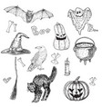 halloween characters and attributes doodle set vector image vector image