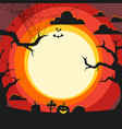 halloween with cementery and old trees vector image vector image