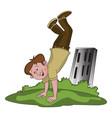 happy boy doing handstand vector image vector image